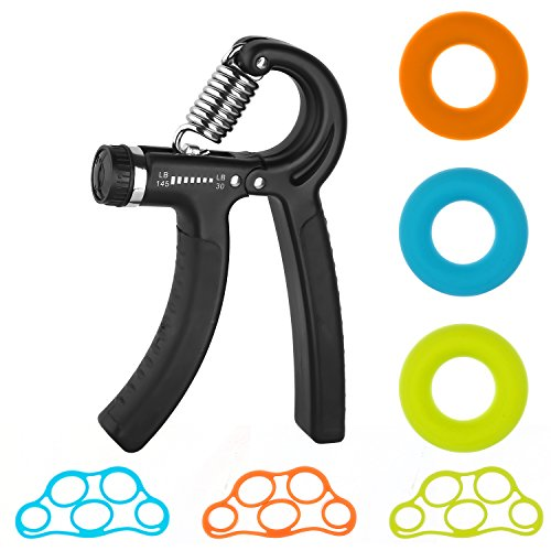 Hand Grip Strengthener, Adjustable Resistance Hand Gripper, Finger Stretcher, Exercise Ring Trainer Equipment for Athletes and Musicians Kit 7 Packs