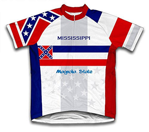 - ScudoPro Mississippi Flag Short Sleeve Cycling Jersey for Men - Size 4XL Blue