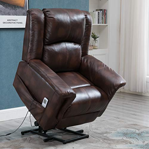 Esright Power Lift Chair Electric Recliner PU Leather Heated Vibration with Multi-Function Control (Luxury Brown)