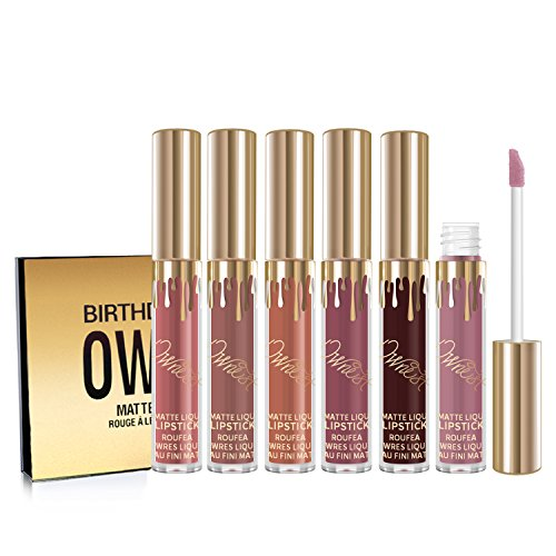 Ownest 6pcs Matte Velvety Liquid Lipstick Matte Liquid Lipgloss Waterproof Lip Gloss brithday editio