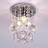 Modern Crystal Chandelier Mini Ceiling Lamp with Rain Drop for Bedroom,Living Room and Corridor (Diameter 6.29 Inch, Height 9 Inch)