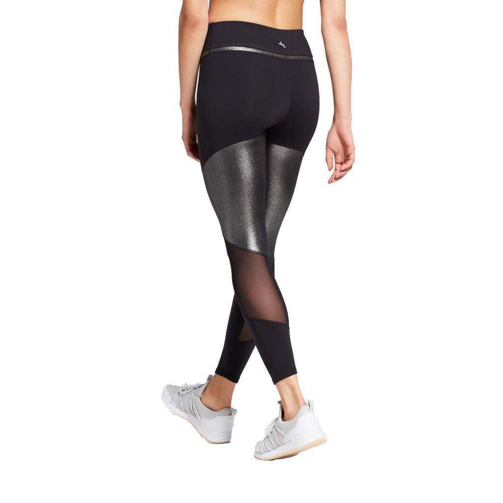 90cdee99033742 JoyLab Women's Premium 7/8 Shine and Mesh Pieced High-Waisted Leggings  Black at Amazon Women's Clothing store: