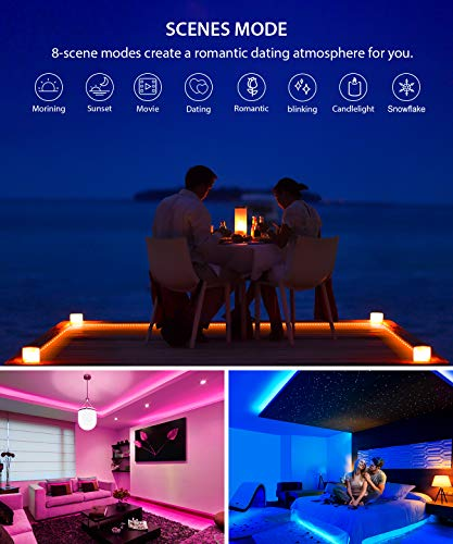 Smart LED Strip Lights, MINGER Dream Color Changing Light Strip Music Sync with Brighter 5050 LEDs and Strong Adhesive Tape, Works with Controller and Phone App Waterproof for Indoor Outdoor, 32.8ft by MINGER (Image #4)