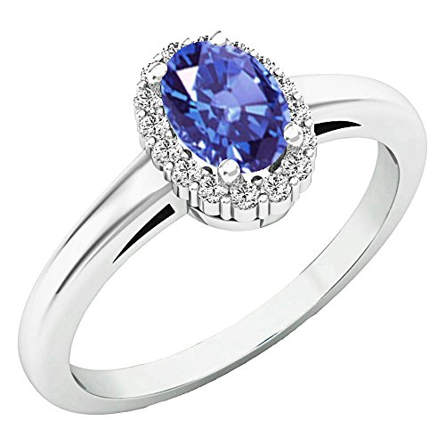 Dazzlingrock Collection 14K 6X4 MM Oval Tanzanite & Round Diamond Ladies Halo Engagement Ring, White Gold, Size 7 ()
