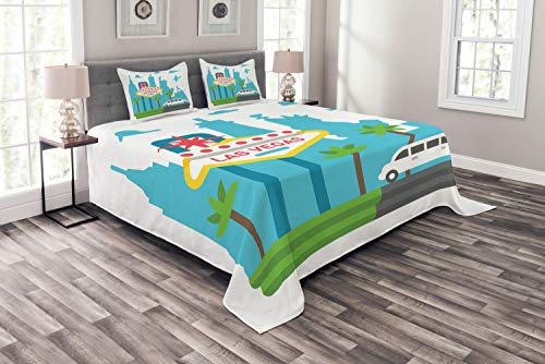 Ambesonne Las Vegas Bedspread Set King Size, Cartoon Limo and City Sign with Famous Architecture Silhouettes in Background, Decorative Quilted 3 Piece Coverlet Set with 2 Pillow Shams, Multicolor ()