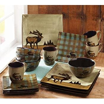 Amazon.com | Mossy Oak 5137679 Animal Print Dinnerware Set, Assorted ...
