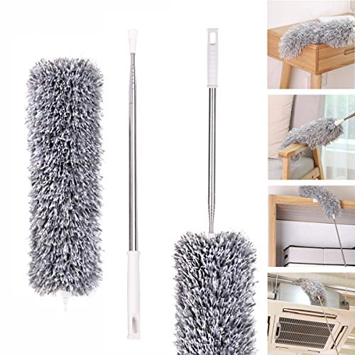 Microfiber Duster with Extendable Handle(Stainless Steel) (30 to 111 inches) Scratch-Resistant Cover,Washable,Bendable Head,Extendable Duster for Car,Ceiling Fan, Interior Roof, Cobweb, Blinds