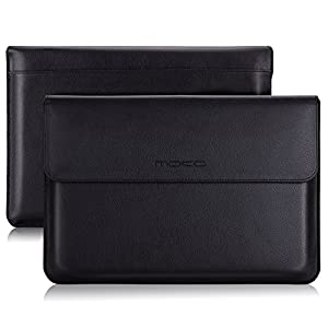 "MoKo Microsoft Surface Pro 6 / Surface Pro 12.3 Inch Tablet Sleeve Case Bag, PU Leather Protective Laptop Sleeve Compatible with Surface Pro 2017/ Pro 4/ Pro 3/ Pro LTE 12.3"", with Pen Holder - Black"