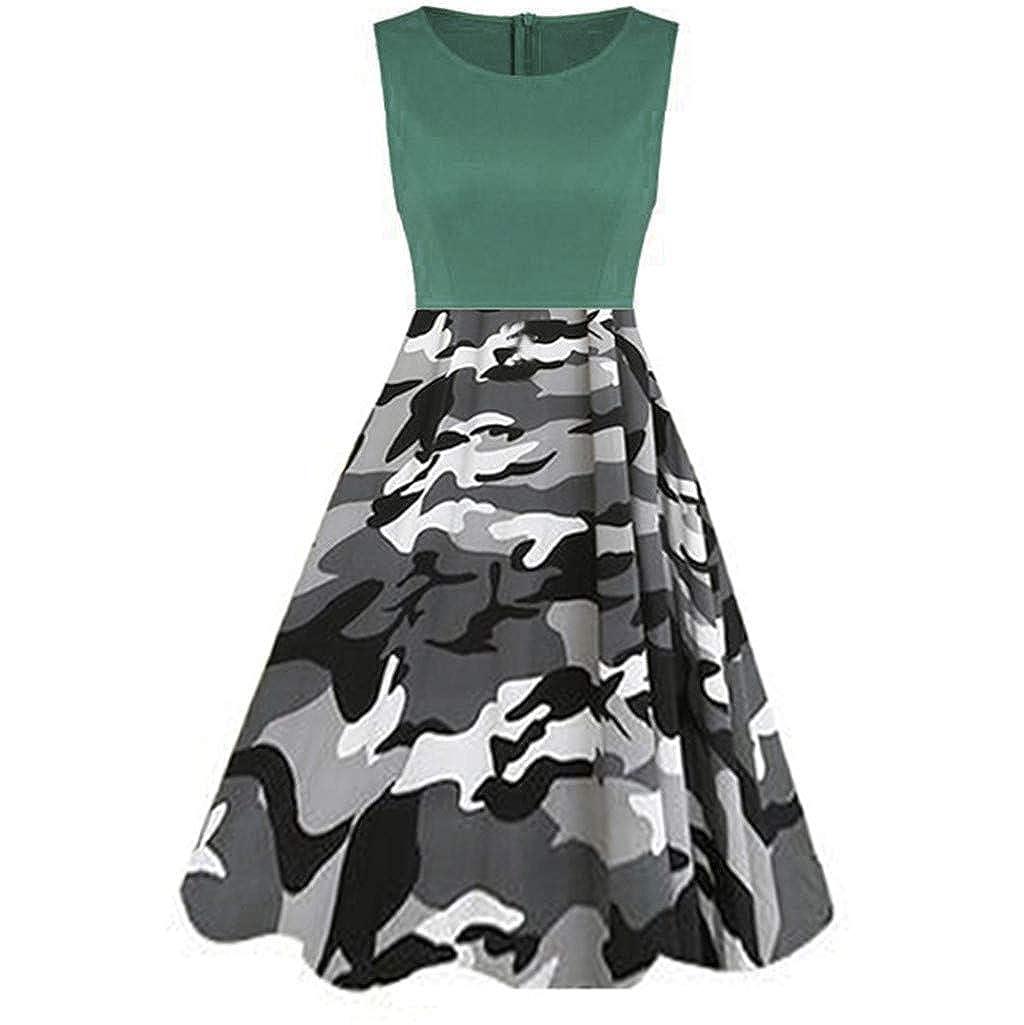 Zackate Womens Vintage Sleeveless Midi Dresses Ladies Dress Printed Camo Printed Tunic Tank Dress