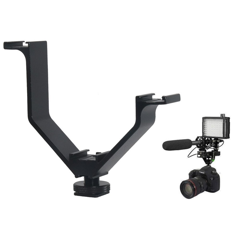 TOAZOE V-bracket 5''/12.5cm V-shape Triple 3 Universal Cold Shoe Hot Shoe Mount Bracket for DSLR camera with LED Video Light Microphone Monitor Flash good for video photography