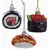 Kurt Adler 3 Assorted Sushi Rolls Glass Noble Gems Christmas Ornaments