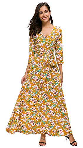 TOP-MAX Women's Dresses -V Neck Boho Floral Split Summer Prom Party Beach Casual Floral Maxi Wedding Guest Dress