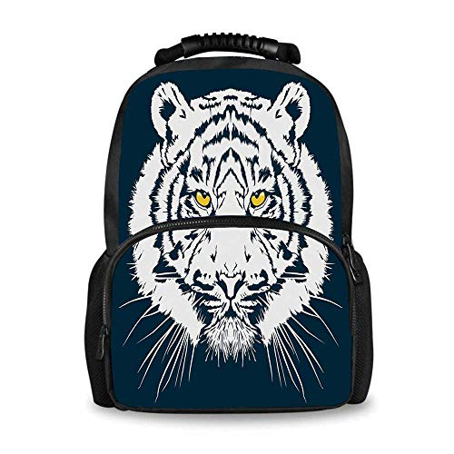 Tiger Adorable School Bag,Aggressive Depiction of a Giant Furry Feline Majestic Animal Mascot of Asia for Boys,12