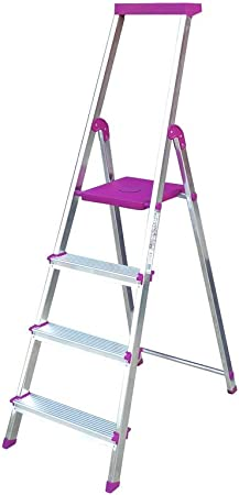 Escalera Rolser Aluminio BriColor 4 Peldaños - Malva: Amazon.es: Hogar