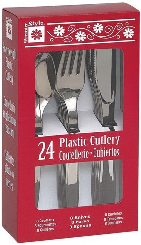 Plastic Cutlery 24Pkg-Silver