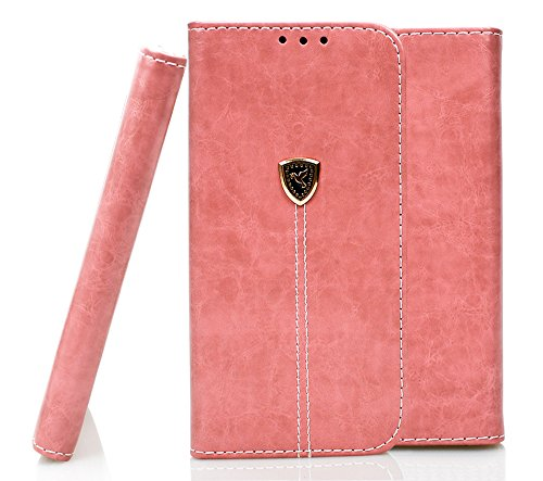 iPhone 6 Hülle, iPhone 6s Echte Rindsleder Brieftasche Hülle , COZY HUT® [Premium Leder Serie] [Wallet Case] Praktishe Ledertasche [Blau] Integrierter Aufstell Funktion und 5 Kartenfach Premium Leder  Rosa Friedenstaube