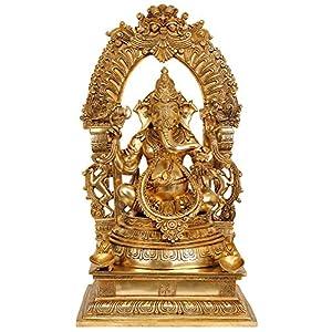 Bhagawan Ganesha with Floral Aureole - Brass Statue 29