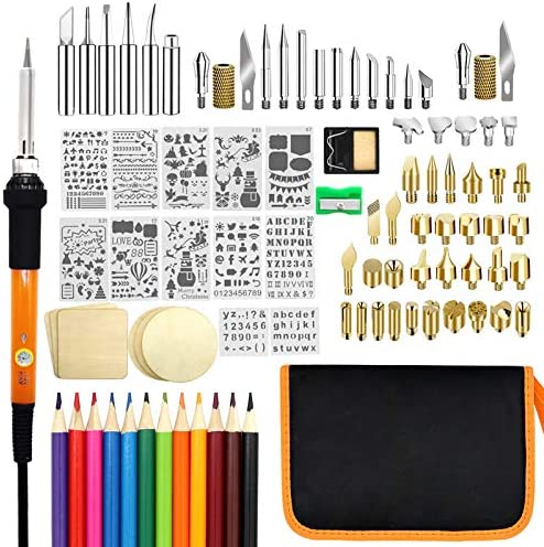 Wood Burning Kit, PETUOL 110PCS Wood Burning Tool with Adjustable Temperature 200~420°C, Professional Pyrography Pen for Embossing/Carving/Soldering
