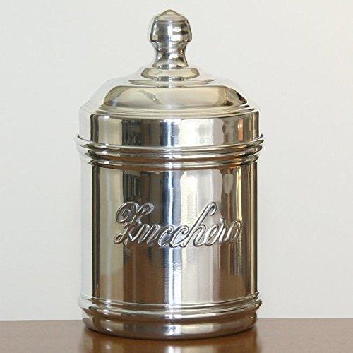 Italo Ottinetti Polished Aluminium Storage Canister 9 cm Zucchero, Metallic, One Size