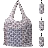 HOLYLUCK Set of 3 Reusable Grocery Bags,Heavy Duty Foldable Shopping Tote Bag, Holds Up To 42 lbs - Maze
