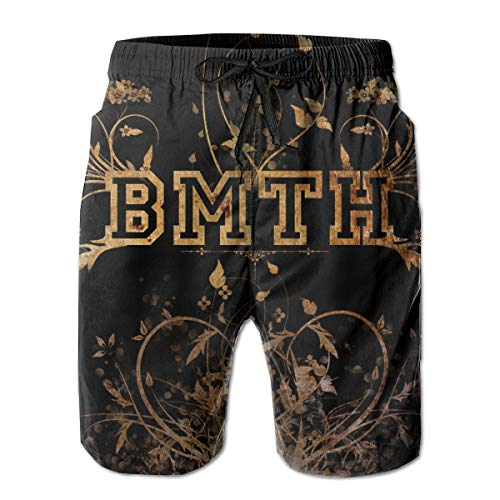 DoKAiello Bring Me The Hori-zon Logo Men's Beach Shorts Fashion Quick Dry Yoga Swim Trunks Pants with Pockets