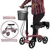 Clevr Foldable Medical Steerable Knee Walker Scooter for Foot Injuries Roller, Adjustable, Crutch