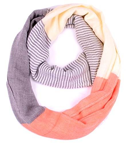BYOS Lightweight Soft Striped With Colorblock Infinity Loop Circle Scarf (Pastel Orange) ()