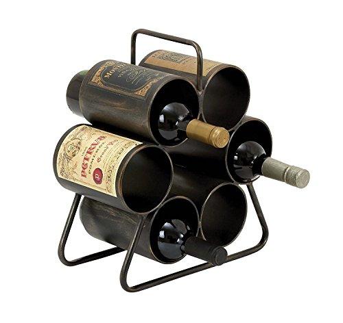 Benzara Wine Rack for Six Bottles with Space Saving Design