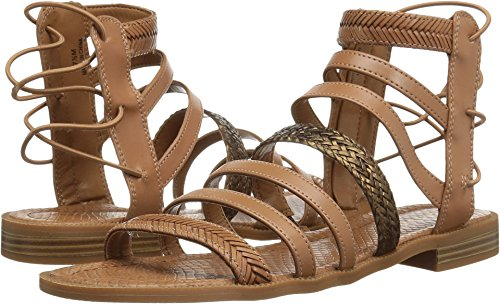 Nine West Flat Sandals - Nine West Women's Xema Synthetic Gladiator Sandal, Dark Natural Multi, 8.5 M US