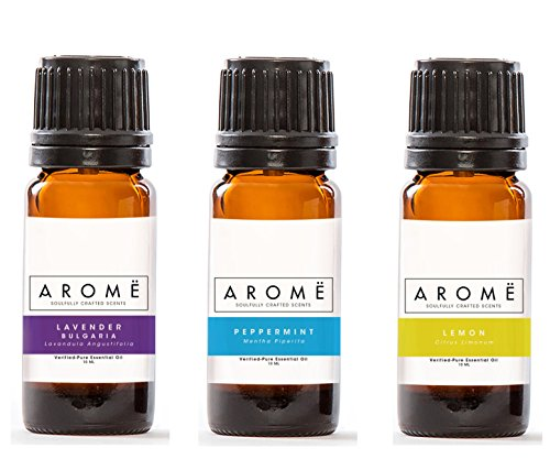 Aromë ESSENTIAL OIL DISCOVERY KIT: LAVENDER, LEMON & PEPPERMINT (3-PACK), 100% Pure Essential Oil, Undiluted, Therapeutic Grade Essential Oil