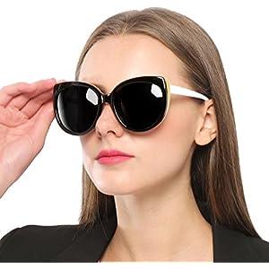 SIPLION Women's Polarized Wayfarer Cat Eye Oversized Sunglasses For Women 8103 Black