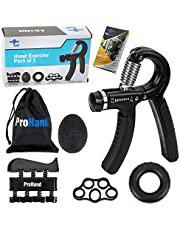 ProHand Premium Quality Hand Grip Strengthener Exercise Set (5-in-1 pack) - Adjustable Resistance Hand Gripper 5-60 KG, Finger Exerciser, Finger Stretcher, Grip Ring and Squeeze Stress Ball - Optimises Hand Strengthening Workout - Hand Rehabilitation - Enhances Hand Flexibility - Relieves Joint Pain
