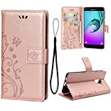 Teebo Wallet Case for Samsung Galaxy A8 2019/A530, 3 Card Holder Embossed Butterfly Flower PU Leather Magnetic Flip Cover for Samsung Galaxy A8 2019/A530(Rose Gold)