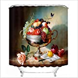 Oil Painting Fruit Plate 3D Digital Shower Curtain Personalized Printing Hook Fabric Mildew Waterproof Visor Bathroom Shower Curtain Polyester Bath Curtain(59.06In-78.74In),70.87In*70.87In