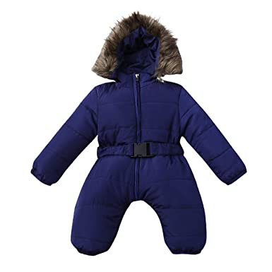e6d497444 Amazon.com  Newborn Infant Baby Boys Girls Warm Thick Romper Winter ...