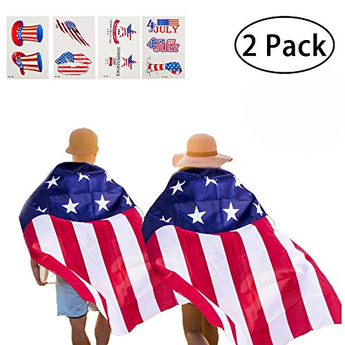 KooNicee American Flag Cape - 4th of July Decorations Independence Memorial Day Party Suppies Costume Men Kids Halloween