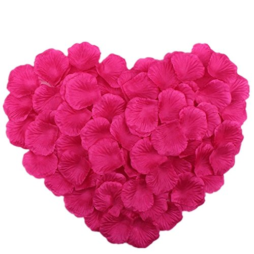 Vivianbuy 1000 PCS Artificial Silk Flower Fushia Rose Petals for Wedding Party Bridal Decoration