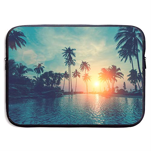 Classic Black Water Repellent Neoprene Laptop Sleeve Bag Cover Case Compatible 13 15 Inch, Computer Netbook Notebook Skin - Sunset Palm Trees Tropical Beach