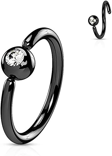 Matte Black IP with Press Fit Double Jeweled 316L Surgical Steel WildKlass Navel Ring Sold by Piece