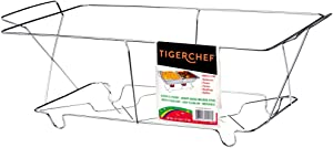 Tiger Chef Full Size Chrome Wire Frame Chafer Stand Steam Table Buffet Chafer Food Warmer Rack Chafing Dish Food Warmer Stand for Chafing Dishes Stand - Full Size (6 Pack)
