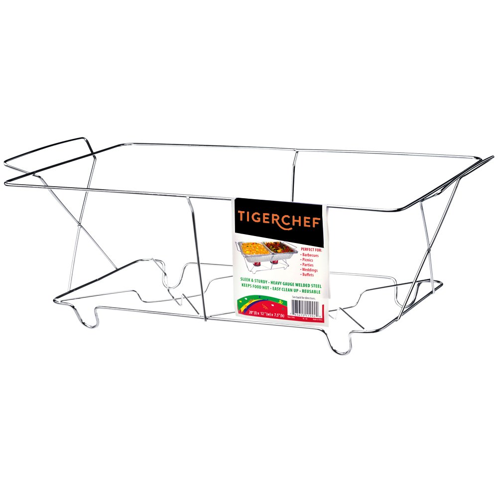 Tiger Chef Full Size Chrome Wire Chafer Stand, Full Size Buffet Chafer Food Warmer Wire Frame, Stand, Rack - Full Size (12 Pack)