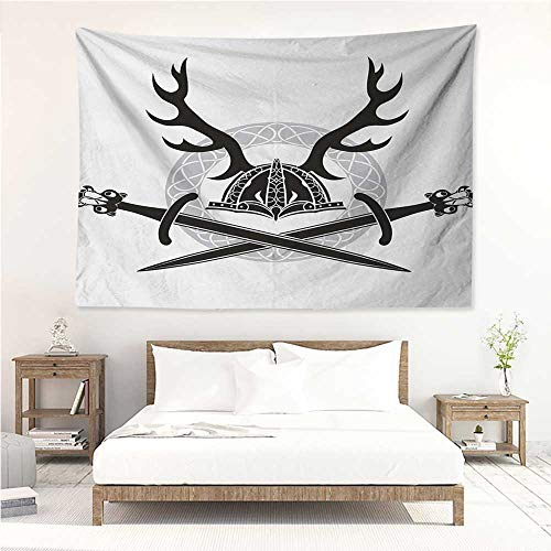 alisos Antler,Wall Decor Tapestry Hat with Deer Antlers Viking Culture Celtic Circle Medieval Barbarian Theme 80W x 60L Inch Tapestry Wallpaper Home Decor Black White ()