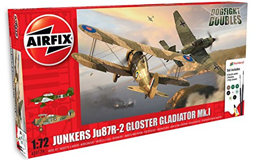 Airfix Junkers Ju87R-2 Stuka and Gloster Gladiator Mk 1 Dogfight Double 1:72 Plastic Model Gift Set -  Hornby, A50179