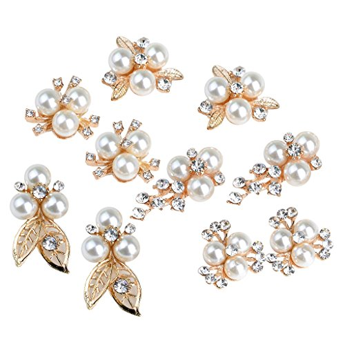 MonkeyJack 10 Pieces Mixed Alloy Rhinestone Crystal Pearl Flower DIY Embellishment Flatback (Embellishments Pearls Flowers)