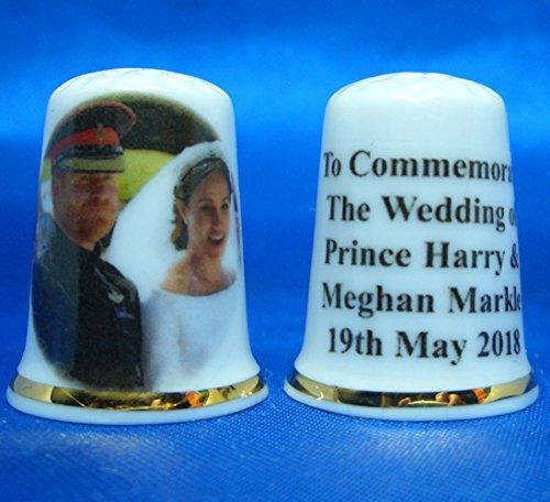 Porcelain China Collectable Thimble - Prince Harry & Meghan Markle Royal Wedding Bride & Groom Box Birchcroft China