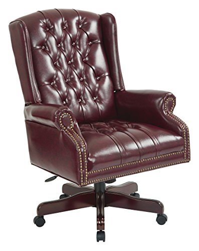 Office Star Thick Padded Vinyl Deluxe Tufted High Back Traditional Executive Chair with Nailhead Accents and Mahogany Finish Base, Jamestown