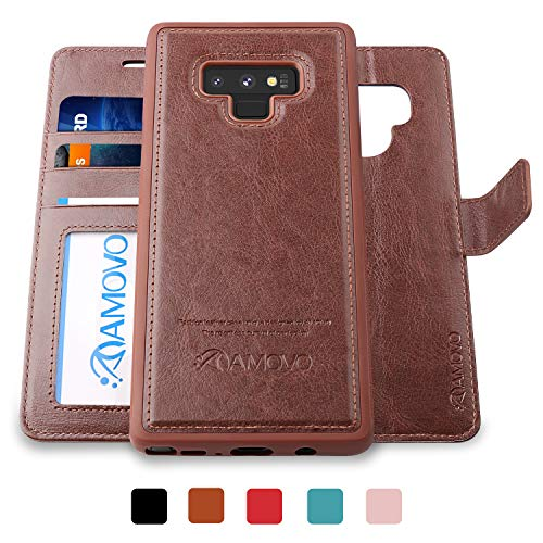 - AMOVO Case for Galaxy Note 9 [2 in 1] Samsung Galaxy Note 9 Wallet Case [Detachable Folio] [Vegan Leather] [Wrist Strap] [Card Slot] [Kickstand] Note 9 Flip Case with Gift Box Package (Brown)