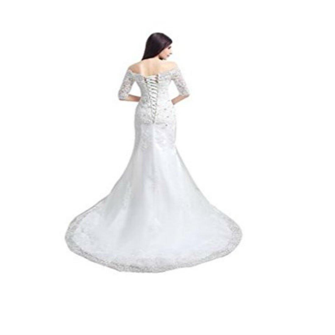 Yilian Mermaid Lace Half Sleeves Wedding Dresses At Amazon Women S