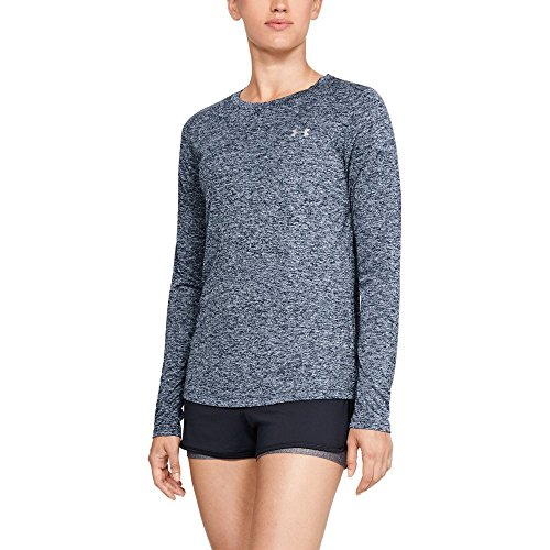 (Under Armour Women's Tech Twist Crew Long sleeve, Academy (408)/Metallic Silver, Large )