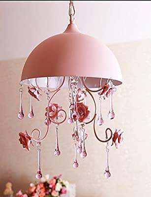 qiuxi High-end fashion Interior Ceiling lamp A Small Pink Rose Garden Restaurant Chandelier Lamp Iron Princess Room 1 , warm white-110-120v